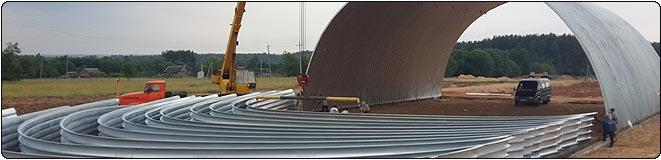 Строительство быстровозводимых бескаркасных арочных ангаров